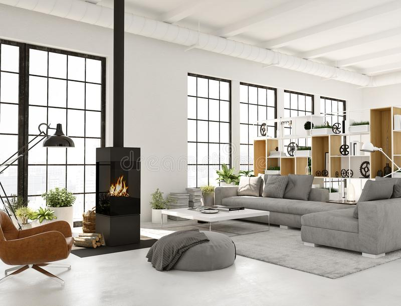 representación 3d sala de estar con la chimenea en el apartamento moderno del desván libre illustration