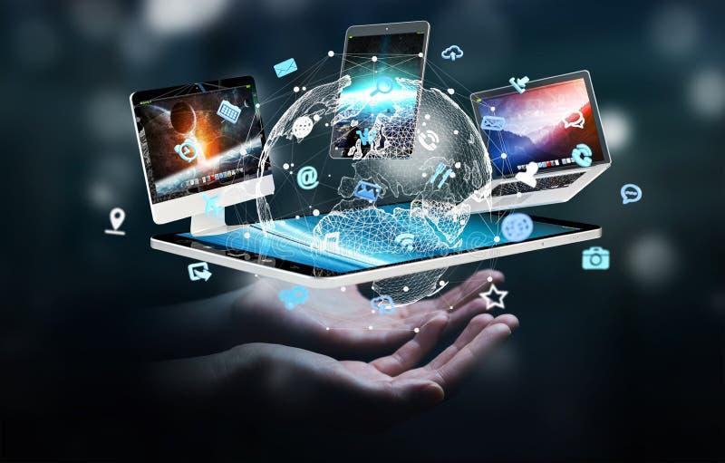 Representación de conexión 3D de los dispositivos de la tecnología de la empresaria el uno al otro ilustración del vector