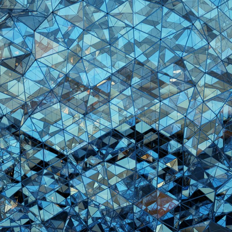 Representación de cristal azul poligonal triangular de la forma 3D stock de ilustración