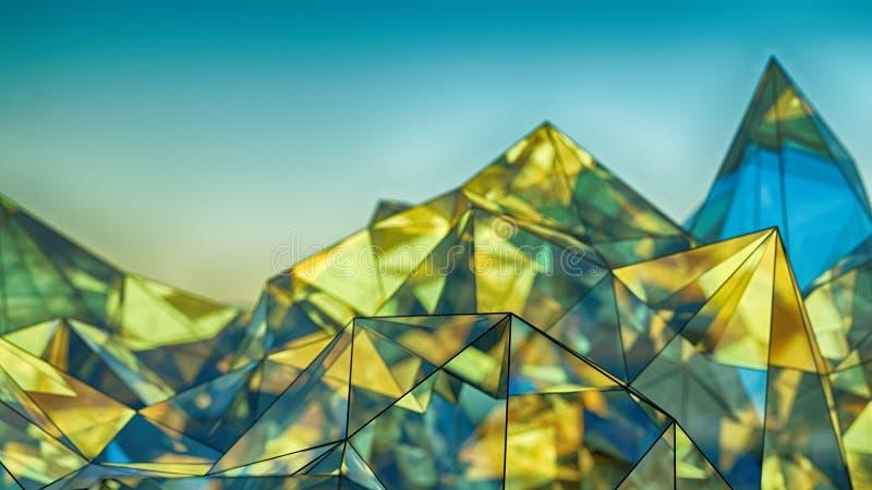 Representación de cristal azul y amarilla moderna poligonal de la forma 3D con D ilustración del vector