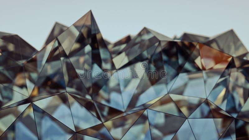 Representación de cristal azul y amarilla moderna poligonal de la forma 3D con D stock de ilustración