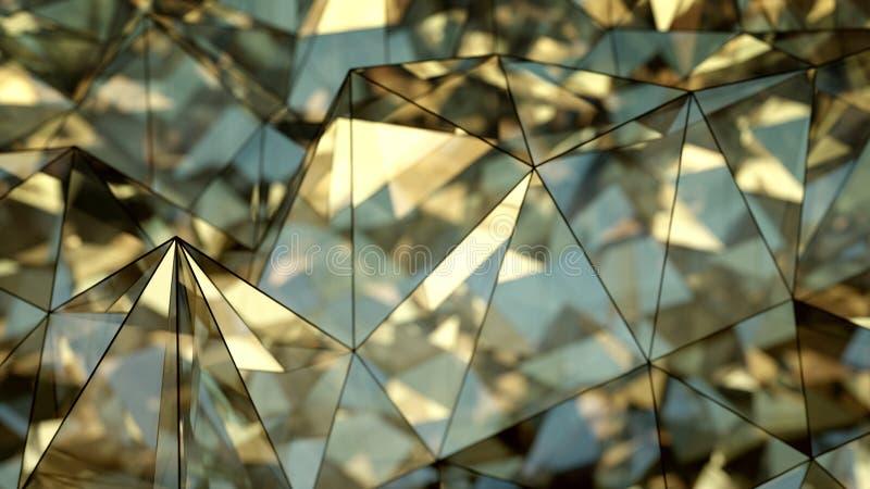 Representación de cristal brillante poligonal de la forma 3D con el DOF ilustración del vector