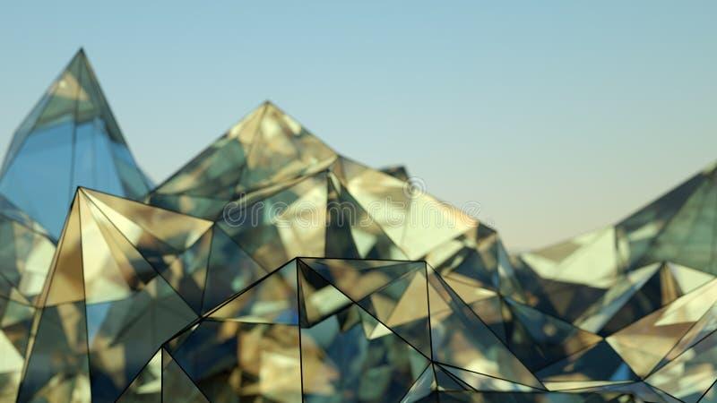 Representación de cristal moderna poligonal de la forma 3D con el DOF libre illustration