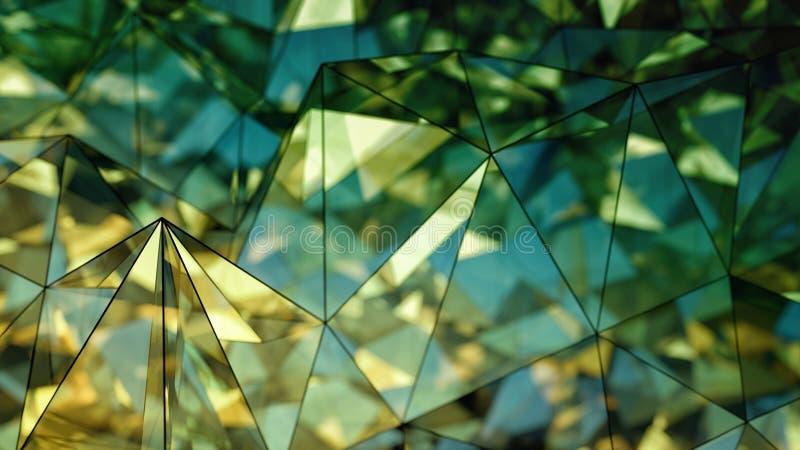 Representación de cristal moderna poligonal de la forma 3D con el DOF stock de ilustración