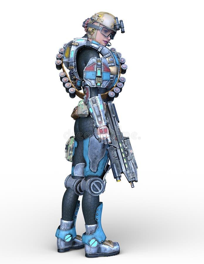 representación de 3D CG de la mujer del cyborg libre illustration