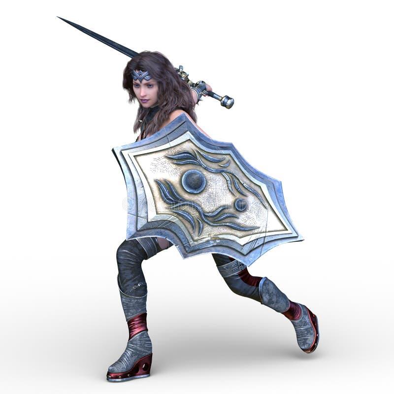 representación de 3D CG de la mujer que lucha atractiva ilustración del vector