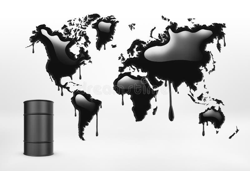 Representación de geográfico mapcolored en negro y barril de aceite en el fondo blanco ilustración del vector