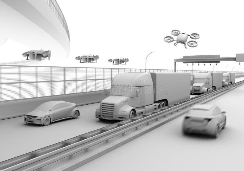 Representación de la arcilla de camiones, de los abejones del cargo y del coche americanos del vuelo ilustración del vector