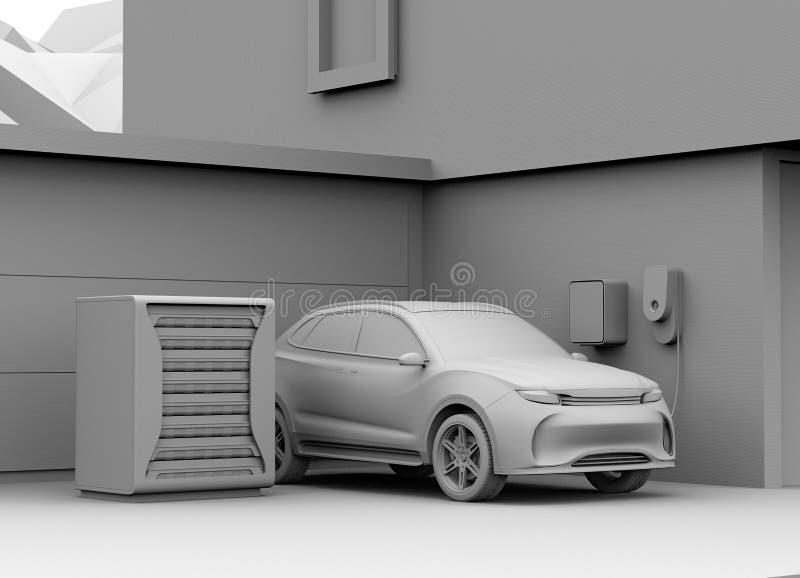 Representación de la arcilla de SUV eléctrico que recarga en garaje libre illustration