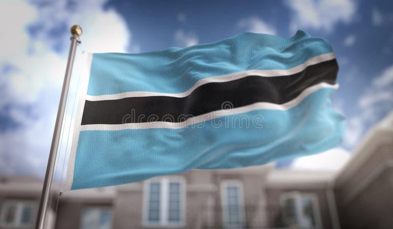 Representación de la bandera 3D de Botswana en fondo del edificio del cielo azul foto de archivo libre de regalías