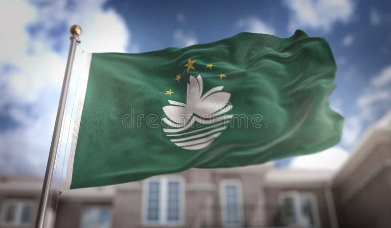 Representación de la bandera 3D de Macao en fondo del edificio del cielo azul fotografía de archivo libre de regalías