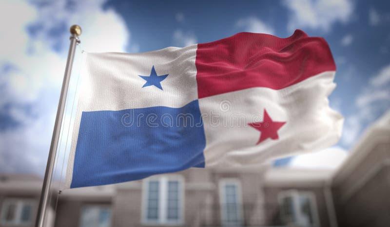Representación de la bandera 3D de Panamá en fondo del edificio del cielo azul fotos de archivo