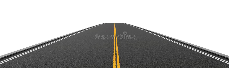 Representación de la carretera de asfalto bidireccional vacía que va derecho y que desaparece en distancia stock de ilustración
