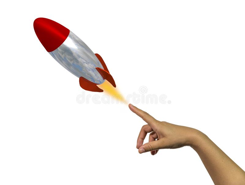Representación de la idea -3d del finger de la mano del misil de Rocket foto de archivo