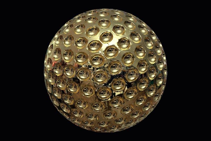 Representación de la pelota de golf del oro 3D stock de ilustración