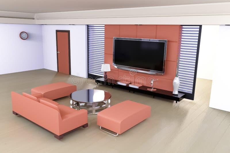 Representación de la sala de estar 3D fotos de archivo libres de regalías