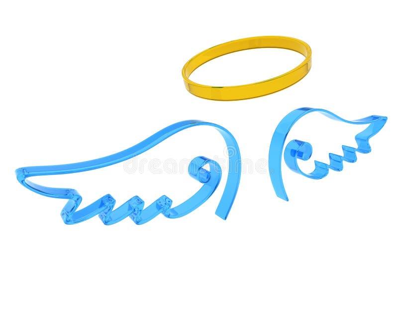 Representación de las alas y del halo del ángel ilustración del vector