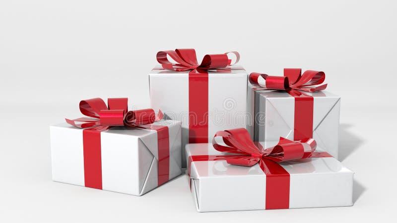 Representación de las cajas de regalo 3d en el fondo blanco libre illustration