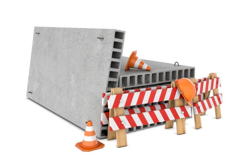 Representación de las cercas del tráfico, de los conos, del casco y de las losas de piso concretas aislados en el fondo blanco libre illustration