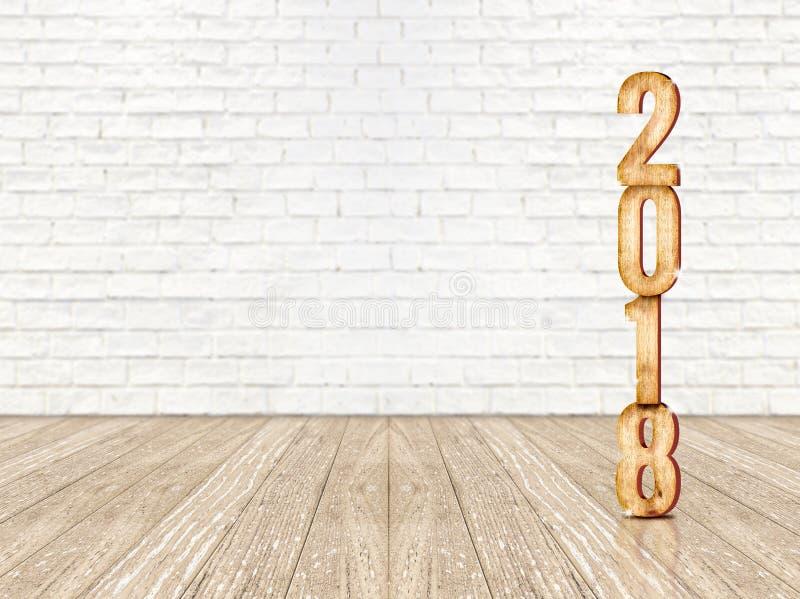 Representación de madera del número 3d de la Feliz Año Nuevo 2018 en la perspectiva wo foto de archivo