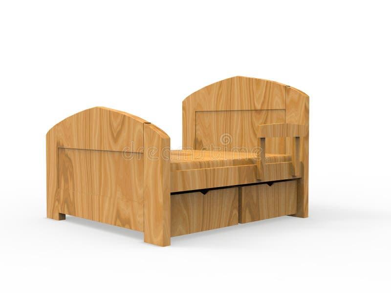 Representación de madera de la cama 3D libre illustration