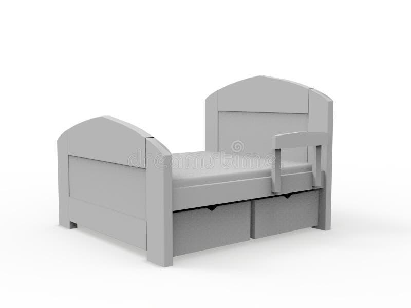 Representación de madera de la cama 3D ilustración del vector
