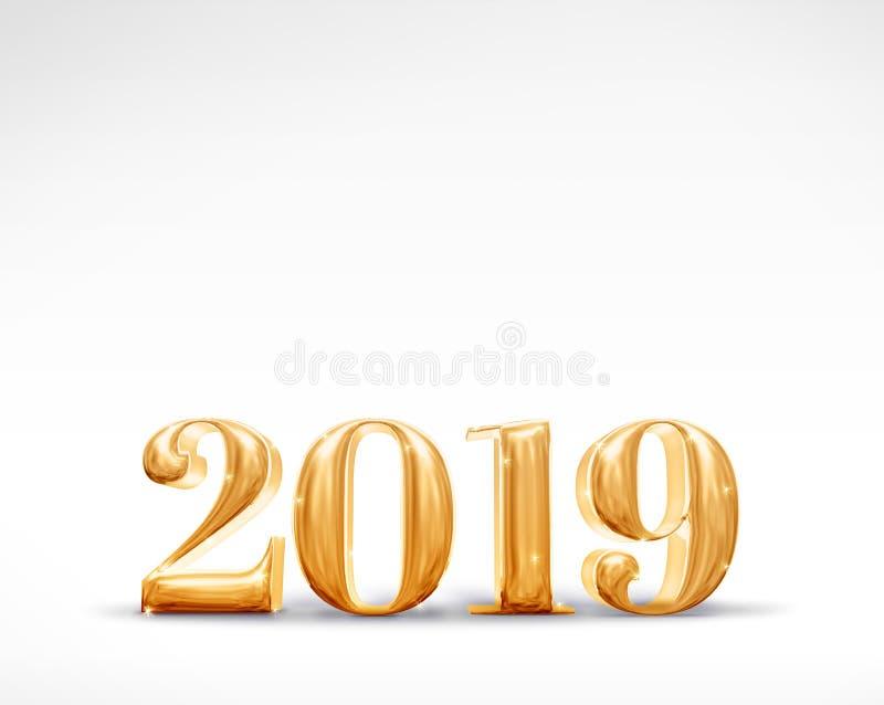 2019 representación de oro del número 3d de la Feliz Año Nuevo en el estudio blanco libre illustration