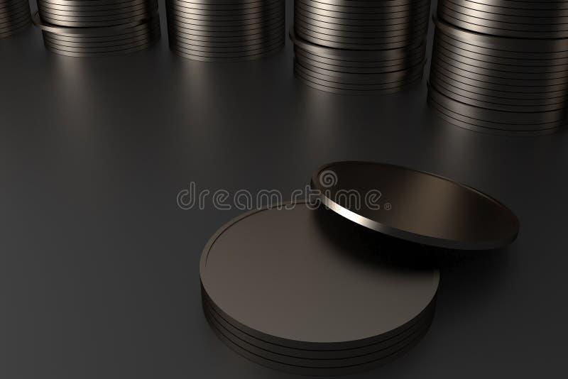 Representación de oro de las monedas 3D fotos de archivo