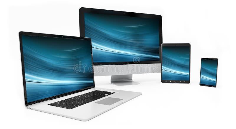 Representación de plata digital moderna del dispositivo 3D de la tecnología stock de ilustración