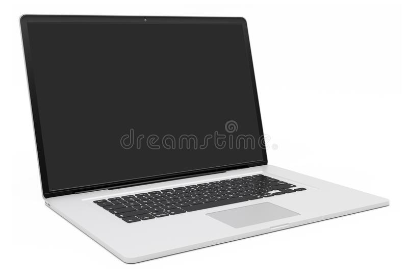 Representación de plata moderna del ordenador portátil 3D stock de ilustración