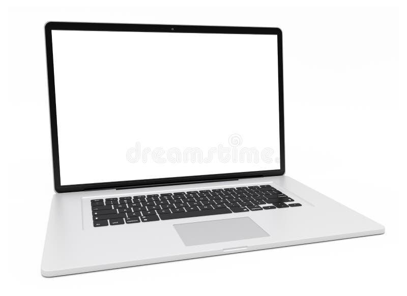 Representación de plata moderna del ordenador portátil 3D ilustración del vector