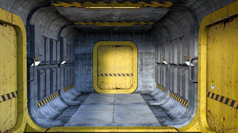 Representación de un pasillo del estilo de la ciencia ficción en una nave espacial o un edificio futurista ilustración del vector