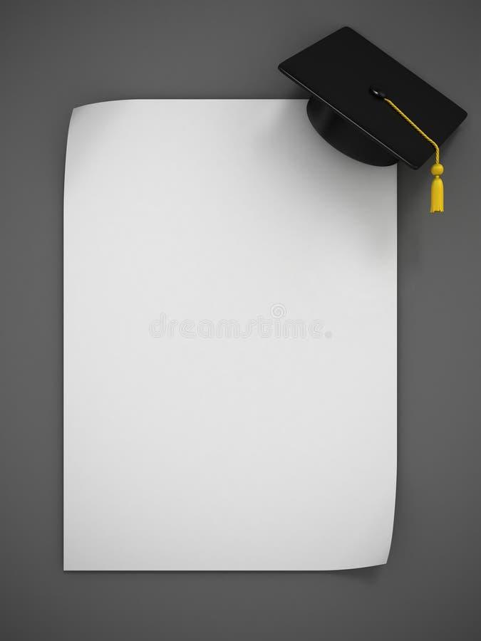 Representación del casquillo 3d de la graduación ilustración del vector