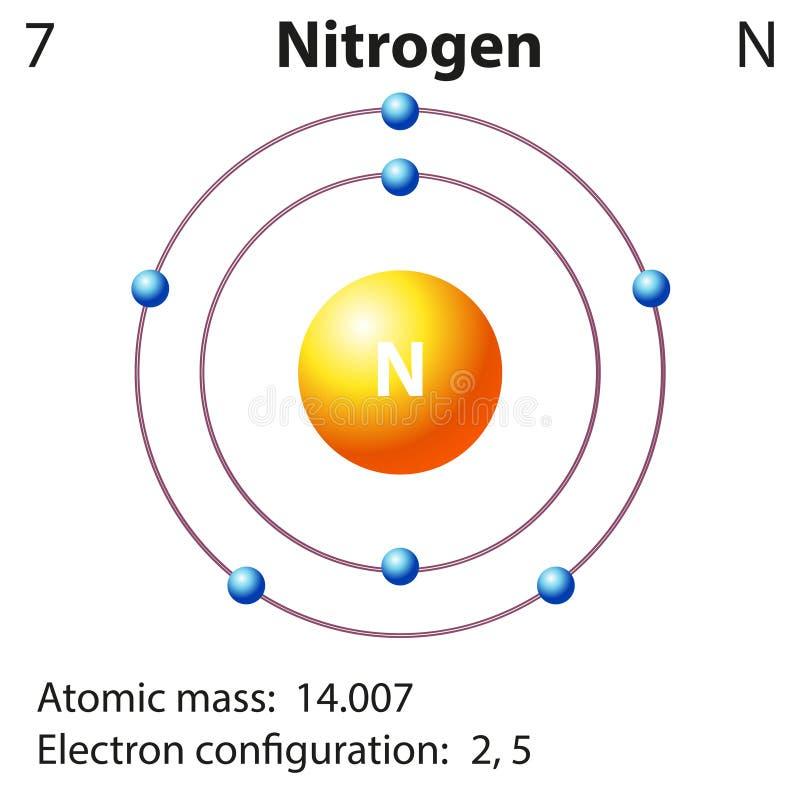 Representación del diagrama del nitrógeno del elemento ilustración del vector