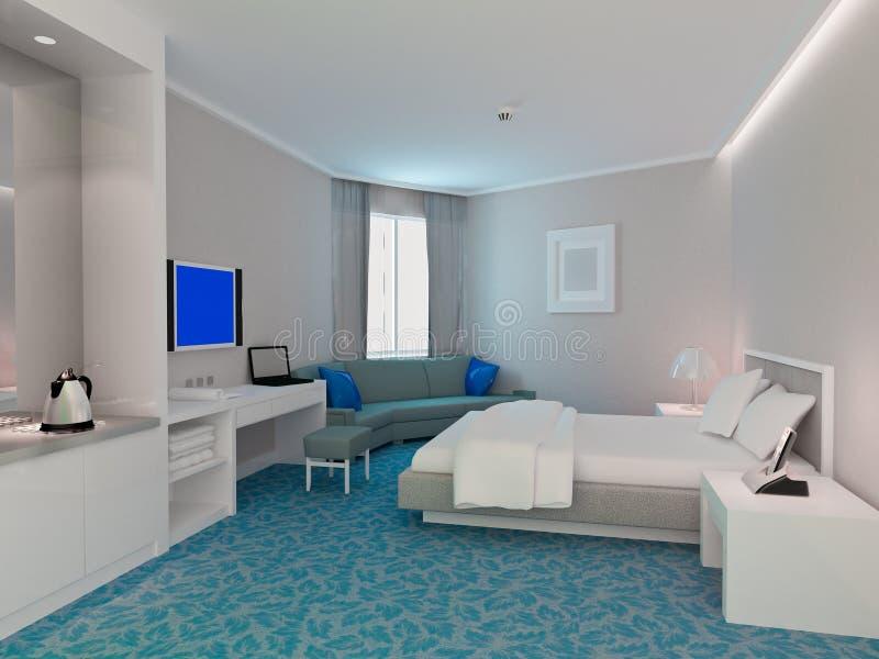 representación del dormitorio 3d, habitaciones ilustración del vector
