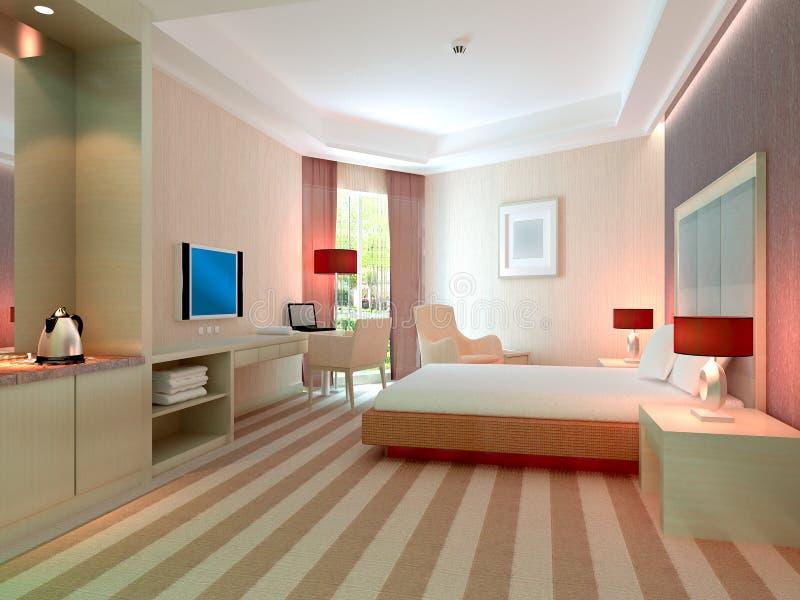 representación del dormitorio 3d, habitaciones stock de ilustración