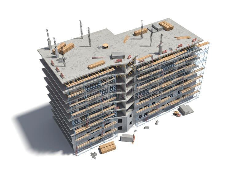 Representación del edificio bajo construcción con el andamio y diverso equipo stock de ilustración