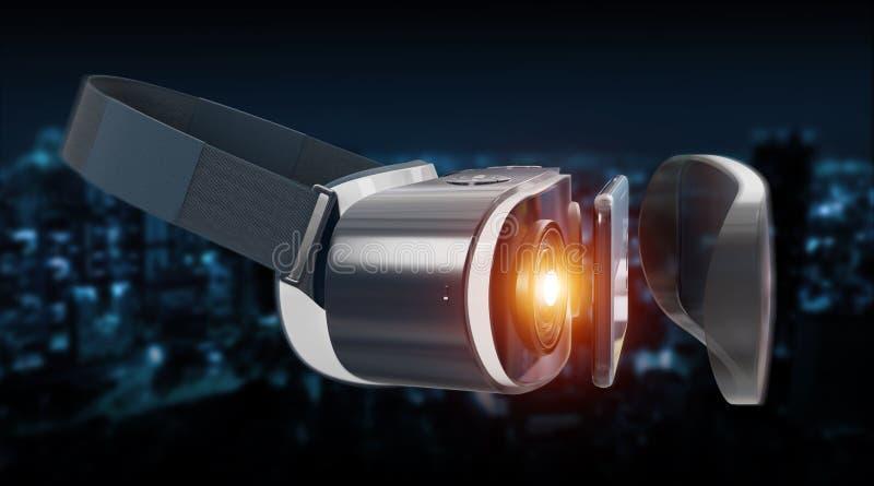 Representación del ejemplo 3D de la tecnología de los vidrios de la realidad virtual stock de ilustración
