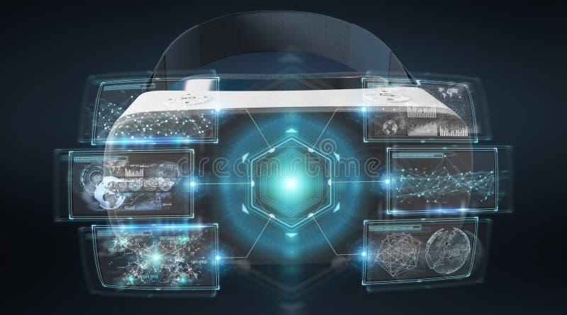 Representación del ejemplo 3D de la tecnología de los vidrios de la realidad virtual ilustración del vector