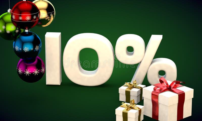 representación del ejemplo 3d de la venta de la Navidad descuento del 10 por ciento libre illustration