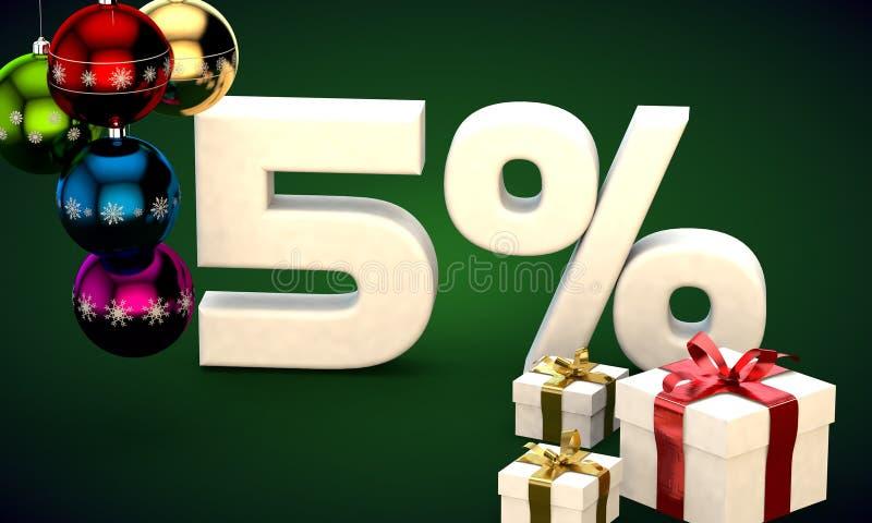 representación del ejemplo 3d de la venta de la Navidad descuento del 5 por ciento stock de ilustración