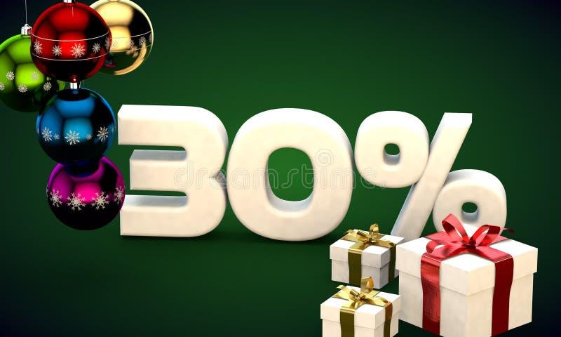 representación del ejemplo 3d de la venta de la Navidad descuento del 30 por ciento libre illustration