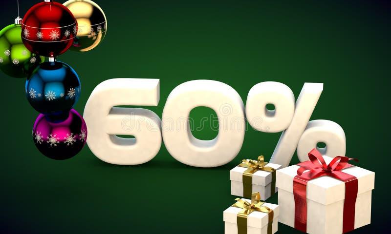 representación del ejemplo 3d de la venta de la Navidad descuento del 60 por ciento libre illustration