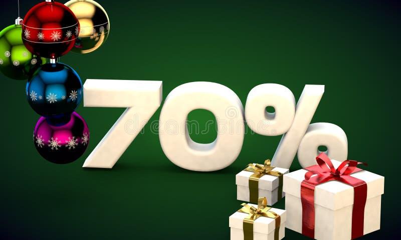 representación del ejemplo 3d de la venta de la Navidad descuento del 70 por ciento libre illustration