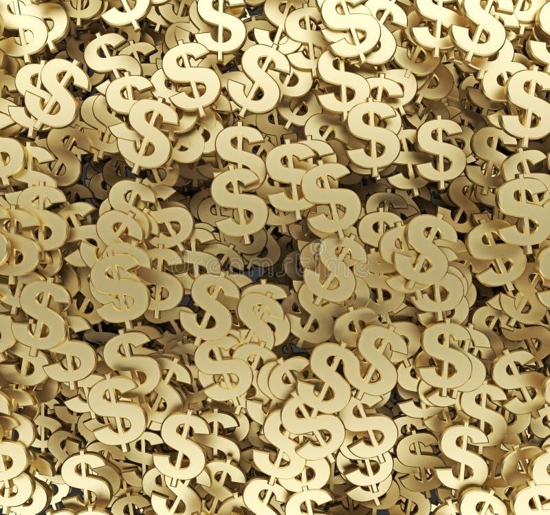 Representación del fondo 3d del símbolo del dólar stock de ilustración