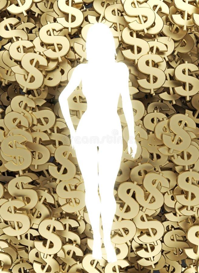 Representación del fondo 3d del símbolo del dólar libre illustration
