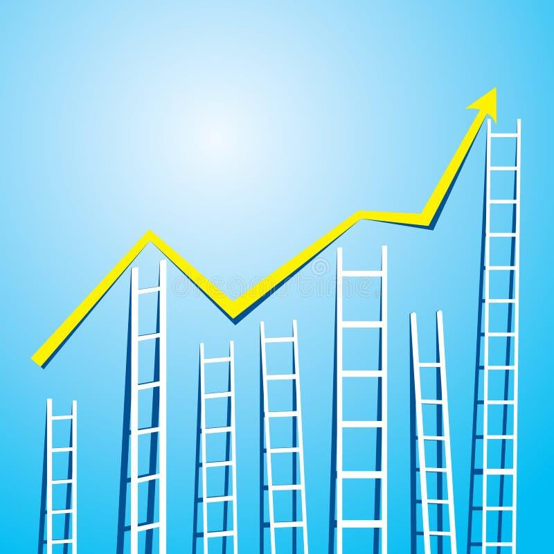 Representación del gráfico del mercado de la escalera ilustración del vector