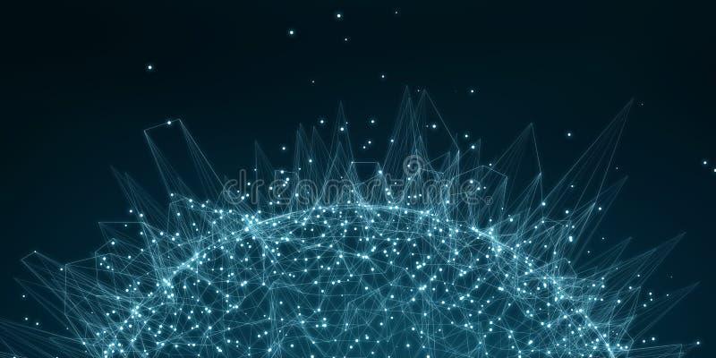 Representación del interfaz 3D de la conexión de red del vuelo libre illustration