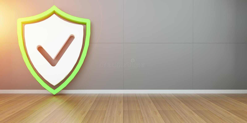 Representación del interfaz 3D de la seguridad del escudo de Smarthome stock de ilustración