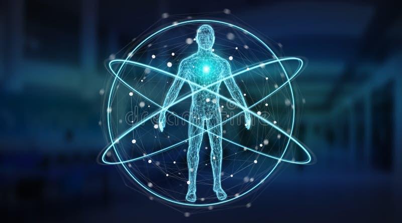 Representación del interfaz 3D del fondo de la exploración del cuerpo humano de la radiografía de Digitaces stock de ilustración